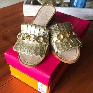 Kate Spade Brie Gold Metallic Leather Sandals